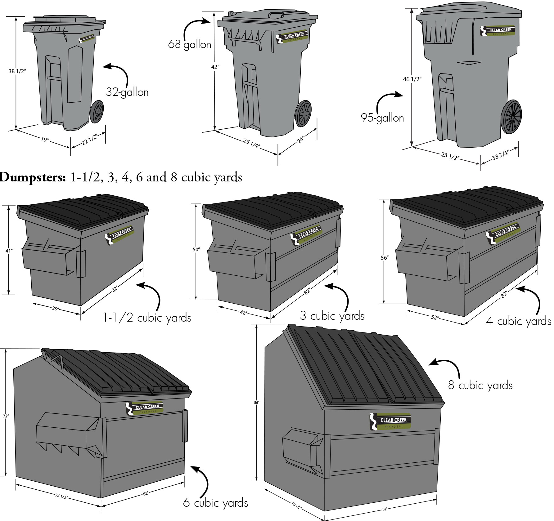 Commercial Trash Bin Sizes : Commercial clear creek disposal